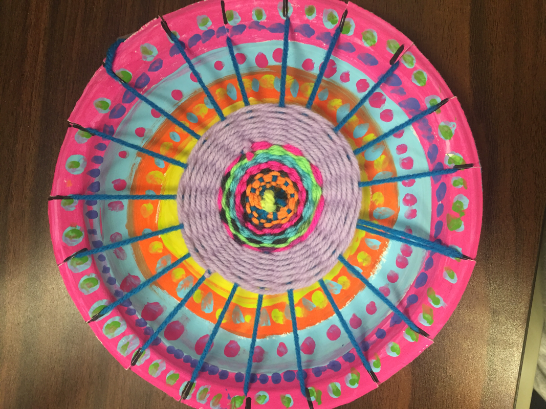 The fourth graders have been hard at work weaving their painted paper plates. We introduced the principles of design with balance being one of them. & 4th Grade Radial Paper Plate Weaving - River Grove School Art